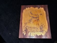SMALL CARVED WOODEN FRAME WITH POKER WORK PICTURE MISS MUFFET SIGNED SUE ROEBUCK